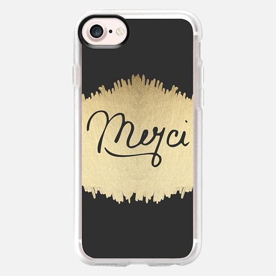 """""""Merci"""" French Quote Black Typography on Faux Gold Painted Brushstrokes on Black - Wallet Case"""