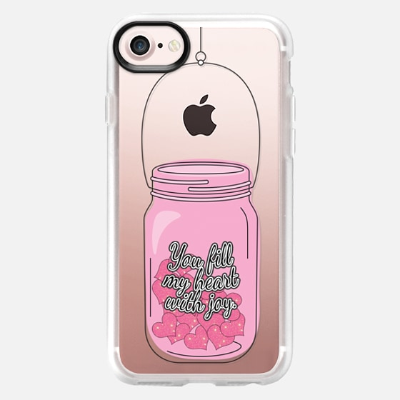 """You Fill My Heart with Joy."" Typography and Girly Pink Hearts in Mason Jar- Transparent - Wallet Case"
