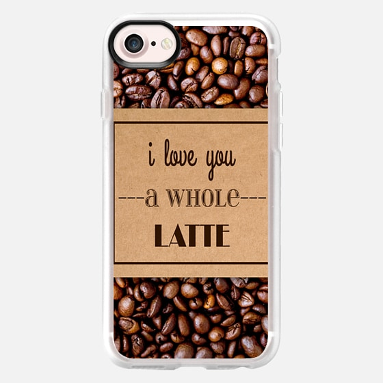"""""""I Love You a Whole Latte"""" Typography on Cardboard Coffee Cup Sleeve & Coffee Beans - Wallet Case"""
