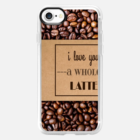 """I Love You a Whole Latte"" Typography on Cardboard Coffee Cup Sleeve & Coffee Beans -"