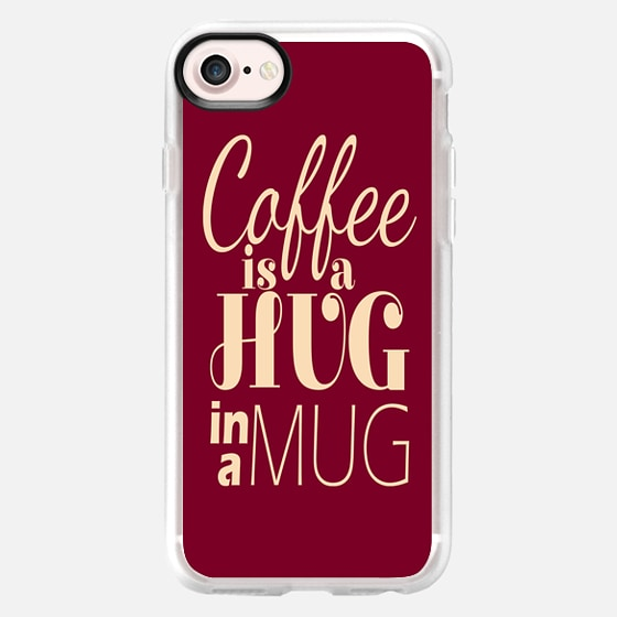 """""""Coffee is a Hug in a Mug"""" Creamy Taupe and Burgundy Red Typography -"""