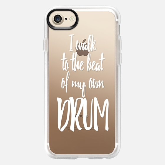 I Walk to the Beat of my Own Drum White Text Typography- Transparent - Wallet Case