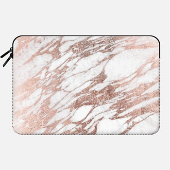 Macbook 12 Sleeve Elegant Chic Faux Rose Gold and White Marble Pattern