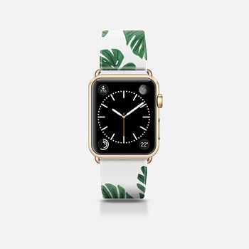 Apple Watch Band (42mm) ケース Tropical Green Watercolor Painted  Swiss Cheese Plant Leaves