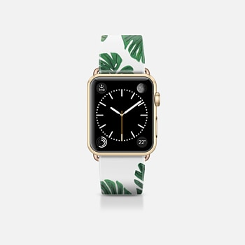 Apple Watch Band (38mm) Case Tropical Green Watercolor Painted  Swiss Cheese Plant Leaves