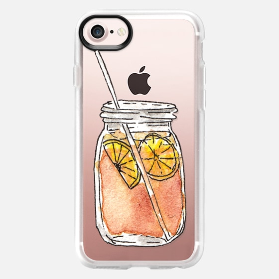 Summer Sun Iced Tea with Lemons Hand Painted Waterolor Drink in a Mason Jar- Transparent - Wallet Case
