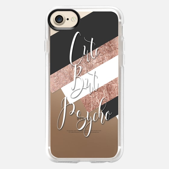 Cute But Psycho Typography on Chic Black White and Faux Rose Gold Blocks- Transparent -