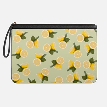 Tech Clutch - Medium  Lemon Yellow Citrus and Leaves Fruit Pattern on Pale Olive Green