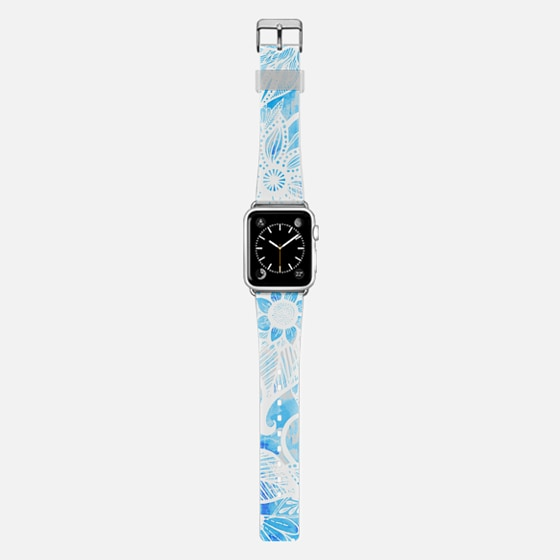 White Floral Lace Drawings on Cool Blue Tie Dye - Casetify Band