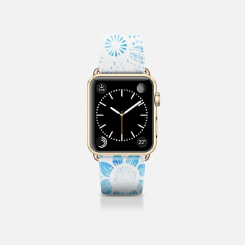 Apple Watch Band (38mm) Case White Floral Lace Drawings on Cool Blue Tie Dye