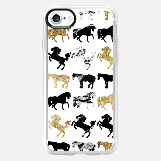 Horses in Black and White Marble with Faux Yellow Gold Animals Pattern on White -