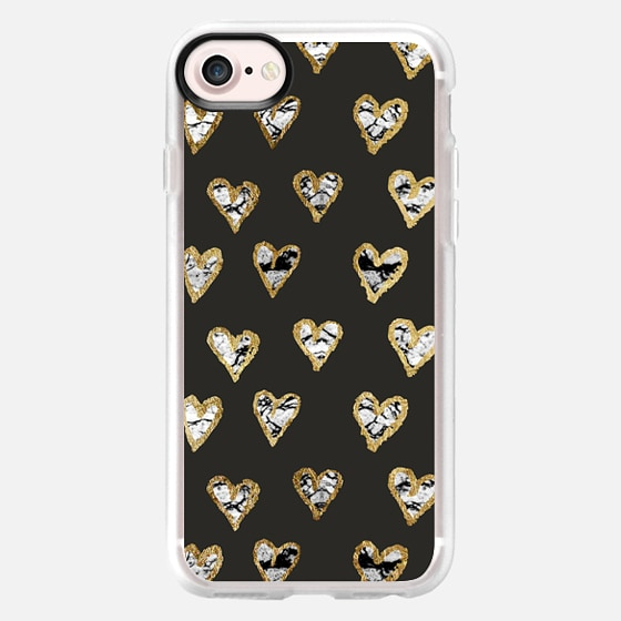 Marble and Faux Gold Scribbled Hearts on Black - Wallet Case