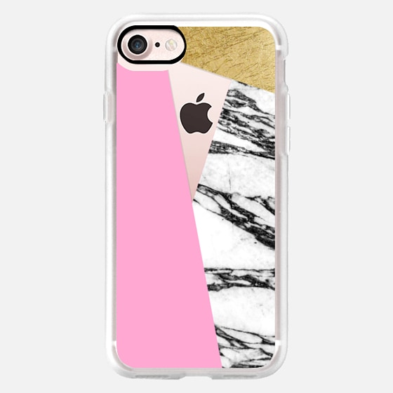 Girly Pink Faux Gold Black and White Marble Geometric TriCut -