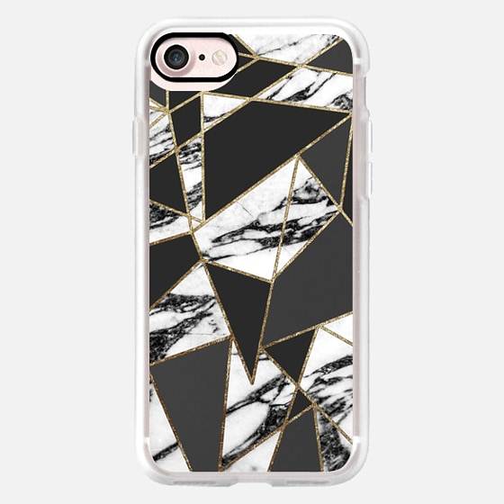 Modern Black and White Marble Geometric with Faux Gold Outline Pattern -