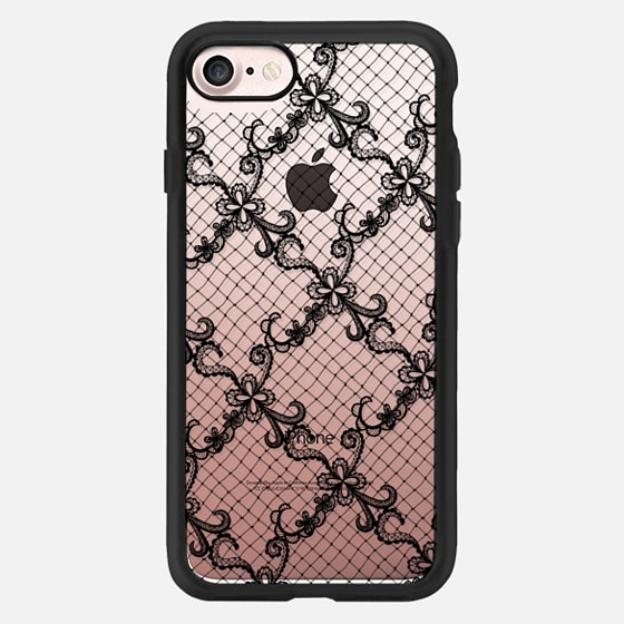 Gothic Hand Drawn Black Floral Lace and Fishnet Pattern -