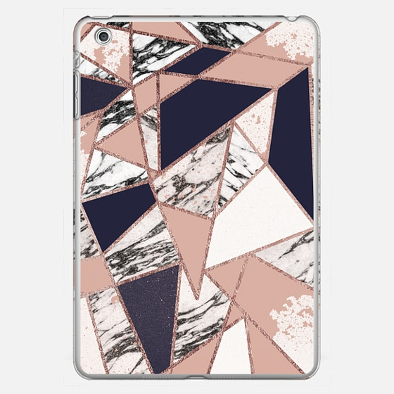 Modern Geometric Rose Gold Triangles in Navy Blue Peach and Marble - Photo Cover