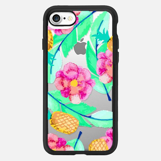 Modern Flower Pineapple Foliage Colorful Pattern -