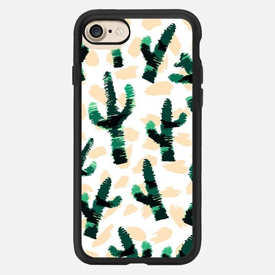 Modern Abstract Succulent Cactus Plant Pattern -