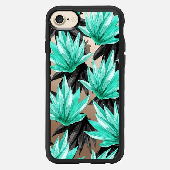 Tropical Watercolor Teal Black Plant Leave Pattern - Classic Grip Case