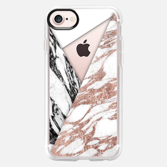 Rose Pink Black and White Modern Marble Tri-Cut - Classic Grip Case