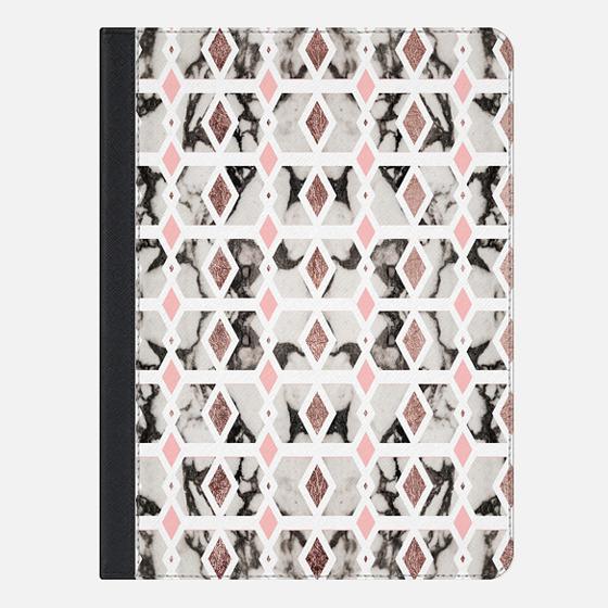 Rose Blush Pink and Black and White Marble Diamond Geometric - iPad Folio Case
