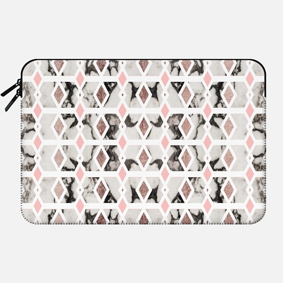 Rose Blush Pink and Black and White Marble Diamond Geometric - Macbook Sleeve