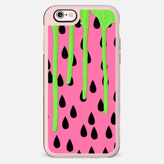 Neon Green Paint Drips on Coral Pink Fruity Watermelons Pattern Background - New Standard Case