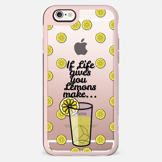 """If Life Gives you Lemons Make Lemonade"" Black Text Typography on Summer Fruity Lemons Pattern- Transparent - New Standard Case"