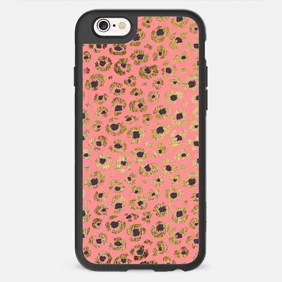 Elegant Chic Faux Gold and Black Printed Cheetah Print on Girly Salmon Pink -
