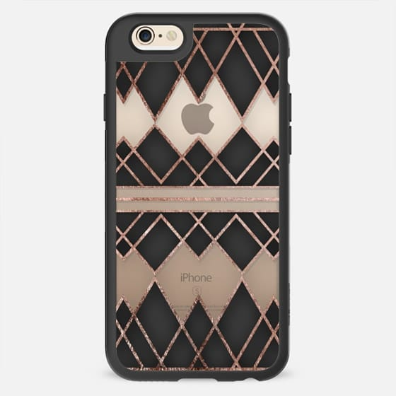 Elegant Modern Chic Faux Rose Gold and Black Geometric Triangles Pattern- Transparent -