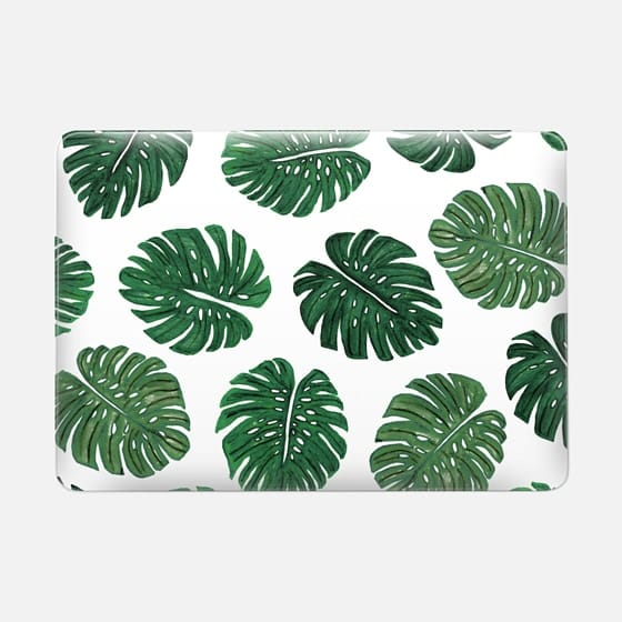 Tropical Green Watercolor Painted  Swiss Cheese Plant Leaves  - Macbook Snap Case