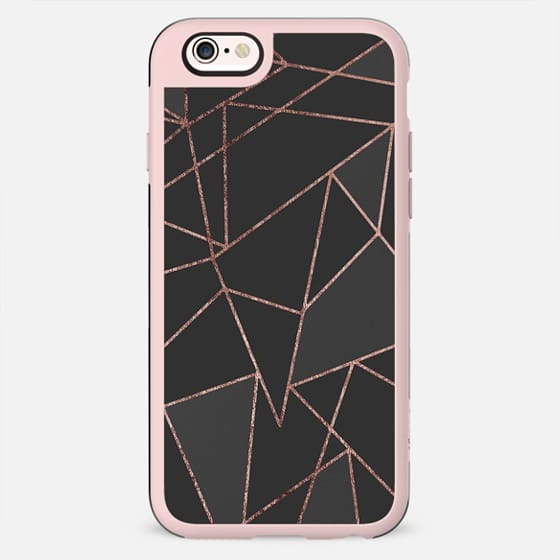 Chic Faux Rose Gold Geometric Outline on Black - New Standard Case