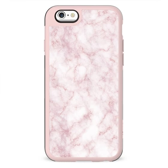 Pink Faux Rose Gold and White Modern Girly Marble
