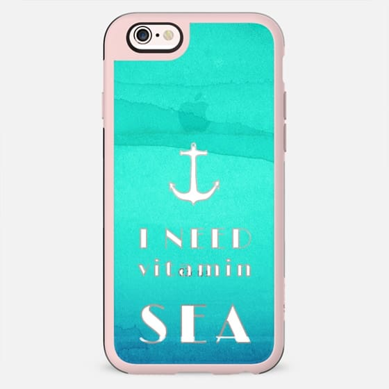 """I need vitamin sea"" Text Typography and Nautical Anchor on Blue Watercolor Paint - New Standard Case"