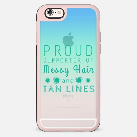 "Summer Celebration- ""Proud Supporter of Messy Hair and Tan Lines."" Text Typography on Transparent Blue and Teal Gradient - New Standard Case"