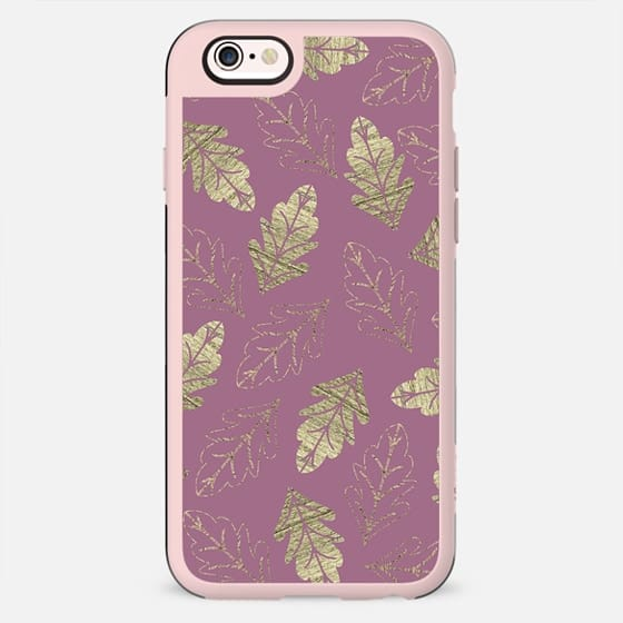 Elegant Faux Gold Leaf Fall Leaves Pattern on Purple Mauve Background - New Standard Case