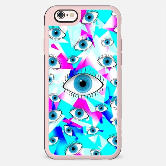 Good Luck Blue Eyes on Girly Geometric Triangles Pattern - New Standard Case