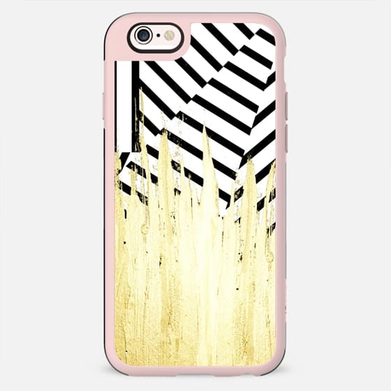 Paint Brush Strokes on Black and white Stripes- Gold Edition - New Standard Case