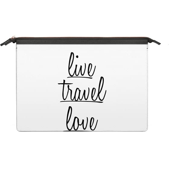 """MacBook Pro 13 Sleeves - """"Live, Travel, Love"""" Black Text Typography on White"""