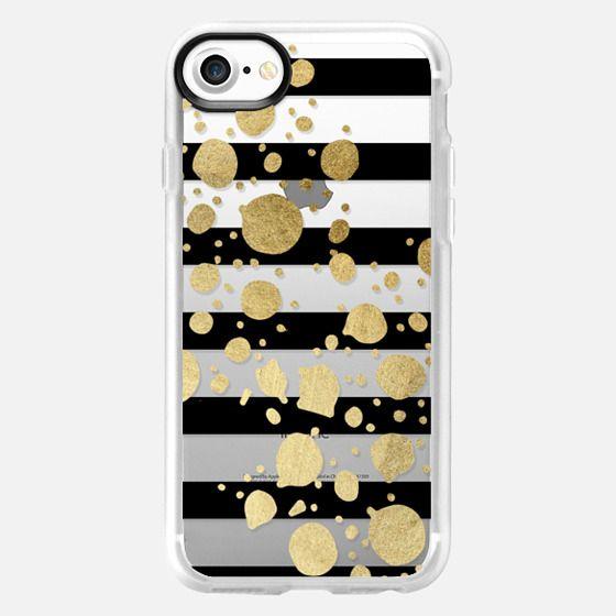 Elegant Faux Gold Paint Splatters and Black Stripes- Transparent -