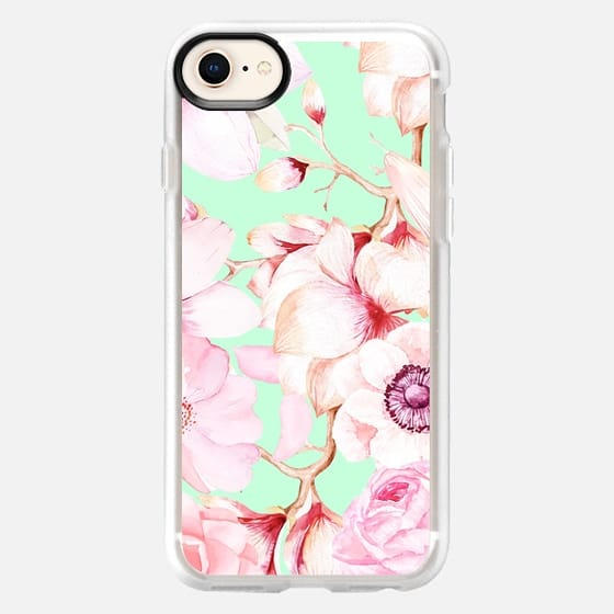 Blush Pink Teal Watercolor Floral Pattern - Snap Case