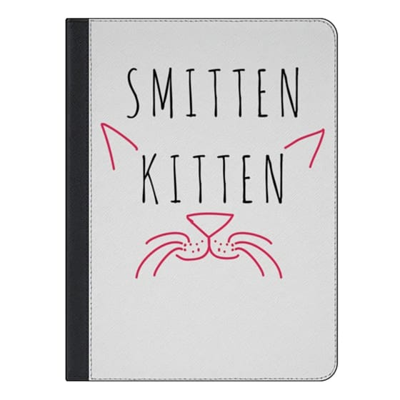 "iPad Air 2 Covers - Cute Girly Neon Pink and Black ""Smitten Kitten"" Cats Text Typography Animals Quote"