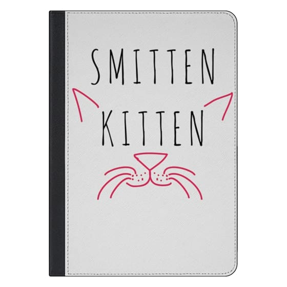 """10.5-inch iPad Pro Covers - Cute Girly Neon Pink and Black """"Smitten Kitten"""" Cats Text Typography Animals Quote"""