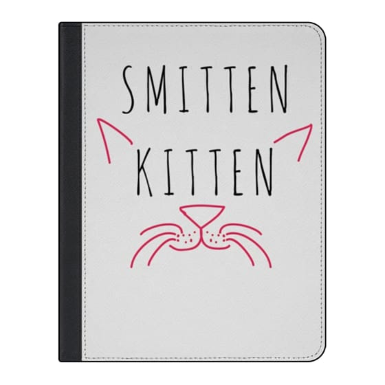 "11-inch iPad Pro Covers - Cute Girly Neon Pink and Black ""Smitten Kitten"" Cats Text Typography Animals Quote"