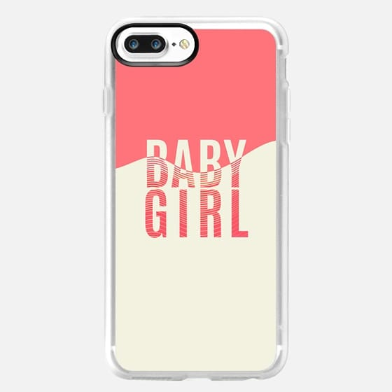 '' Baby Girl'' Typography Coral & Off White Curved Linear Pattern -