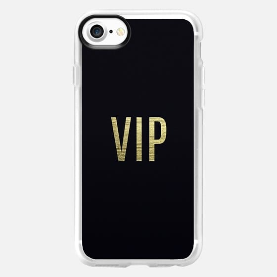 """""""VIP"""" Faux Gold Leaf Text Typography on Midnight Black - Classic Grip Case"""