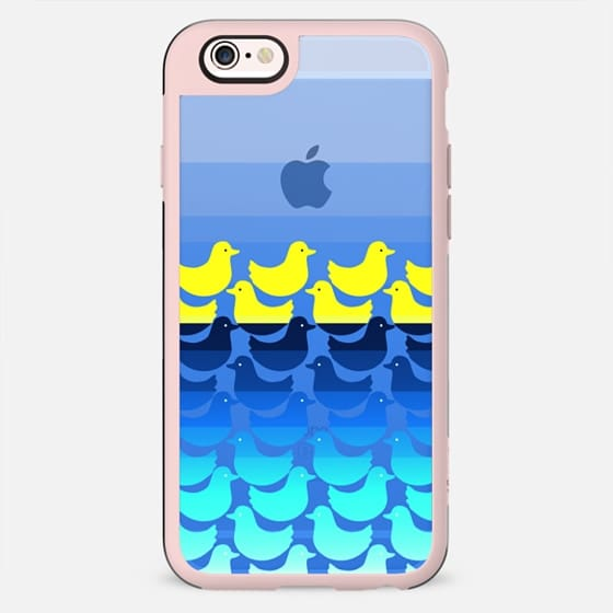 Bright Yellow Rubber Ducky Animals Pattern on Watery Blue Gradient Background - New Standard Case