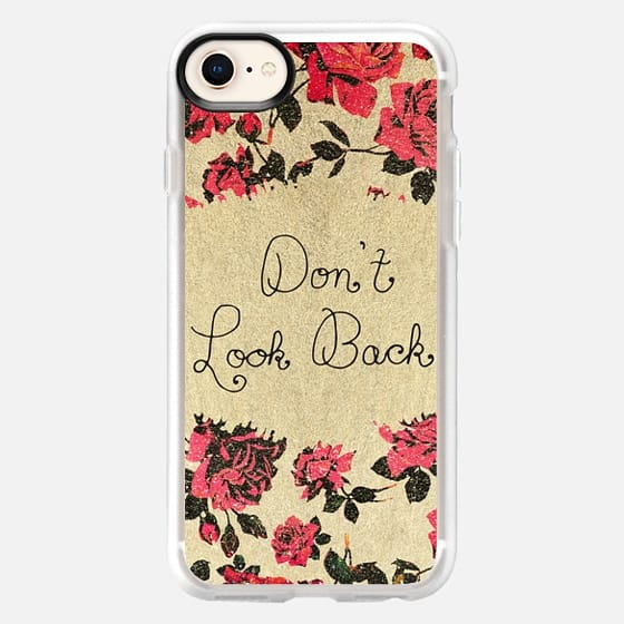 """Don't Look Back"" Red Elegant Rustic Roses on Faux Printed Gold Brushstrokes - Snap Case"