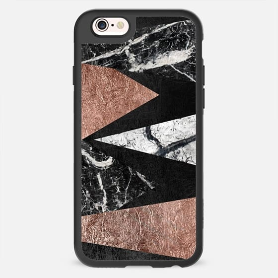 Elegant Modern Faux Printed Rose Gold & Black and White Marble Triangles -