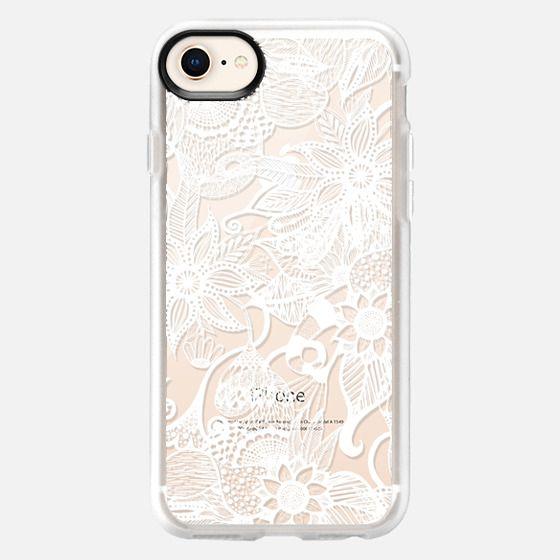 White Floral Lace Drawings- Transparent - Snap Case